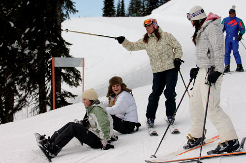 Skiiers and snowboarders at Whitewater Winter Resort.